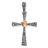 Sterling Silver Champagne Cubic Zirconia Marcasite Cross Pendant