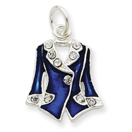 Sterling Silver Blue Enameled And Crystal Vest Charm