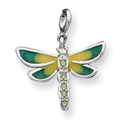 Sterling Silver CZ & Enameled Dragonfly