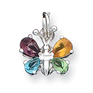 Sterling Silver Mulitcolor CZ Butterfly Charm