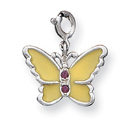 Sterling Silver Yellow Enameled CZ Butterfly Charm