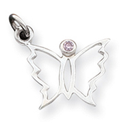 Sterling Silver Pink CZ Butterfly Pendant