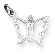 Sterling Silver Clear CZ Butterfly Pendant