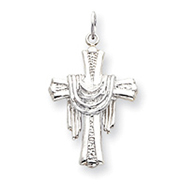 Sterling Silver Draped Cross Charm