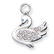 Sterling Silver Swan With  CZ Charm