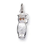Sterling Silver Owl With Crystal Eyes Charm