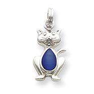 Sterling Silver Dark Blue Cat