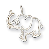 Sterling Silver Diamond Cut Outline of Elephant Pendant