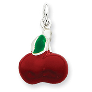 Sterling Silver Enameled Cherry Charm