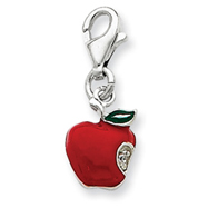 Sterling Silver Red Enameled Apple Charm
