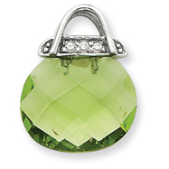 Sterling Silver Green CZ Purse Pendant