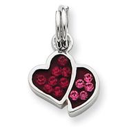 Sterling Silver Pink & Red CZ Hearts Charm