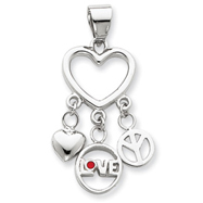 Sterling Silver Enamel Heart With Heart, Love, Peace Pendant
