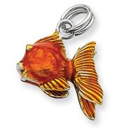 Sterling Silver Enamel Goldfish Charm