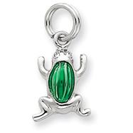 Sterling Silver Green Enamel Frog Charm