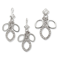 Sterling Silver CZ Dangle Pendant & Earring Set