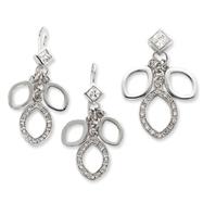 Sterling Silver CZ Dangle Pendant & Earring Set
