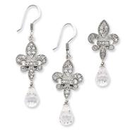 Sterling Silver Fleur-de-lis CZ Earring & Pendant Set