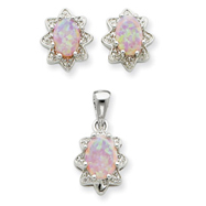 Sterling Silver Created Opal & CZ Pendant & Earring Set