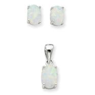 Sterling Silver Opal Pendant & Earrings Set