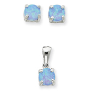 Sterling Silver Created Opal Pendant & Earring Set