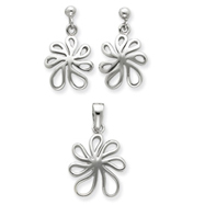 Sterling Silver Floral Earring & Pendant Set