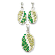 Sterling Silver Green & Yellow CZ Earring & Pendant Set