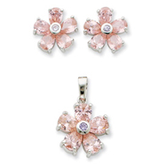 Sterling Silver Pink & Clear CZ Flower Pendant & Earring Set