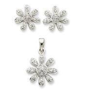 Sterling Silver CZ Flower Pendant & Earring Set