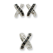 Sterling Silver CZ Black & White X Earring & Slide Set
