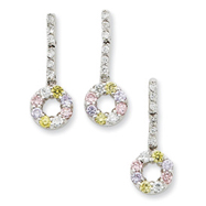 Sterling Silver Yellow & Pink CZ Earring & Pendant Set