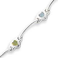 Sterling Silver Heart Colored CZ Bar Bracelet