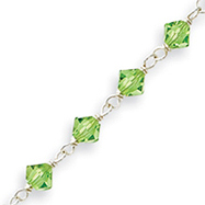 Sterling Silver Green Crystal Bracelet