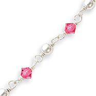 Sterling Silver Pink Crystal & Bead Bracelet