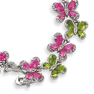Sterling Silver Green And Pink CZ Butterfly Bracelet