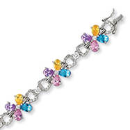 Sterling Silver Multicolor CZ Flower Bracelet