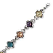 Sterling Silver Multicolor CZ Bracelet