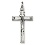 Sterling Silver Antiqued Rosary Cross Pendant