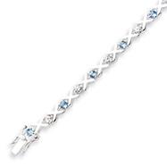 Sterling Silver Blue Topaz & CZ Bracelet