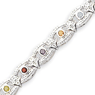 Sterling Silver Multicolor Semi-Precious & CZ Bracelet