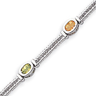 Sterling Silver Multi-Color Semi-Precious Bracelet