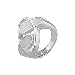 "Sterling Silver ""Orbit"" Ring with White Mother of Pearl"