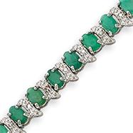 Sterling Silver Emerald And Diamond Bracelet