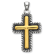 Sterling Silver Vermeil Antiqued Cross Pendant