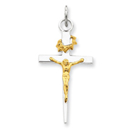 Sterling Silver 18K Gold Plated Crucifix Pendant