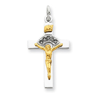Sterling Silver 18K Gold Plated Crucifix Charm