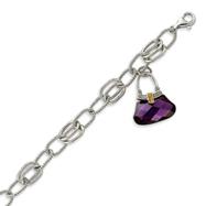Sterling Silver Purple CZ Handbag Dangle Bracelet