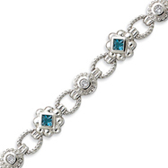 Sterling Silver Blue And Clear CZ Bracelet