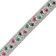 Sterling Silver Sapphire, Ruby, Emerald & CZ Bracelet
