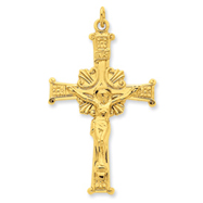 Sterling Silver 24K Gold Plated INRI Crucifix Pendant